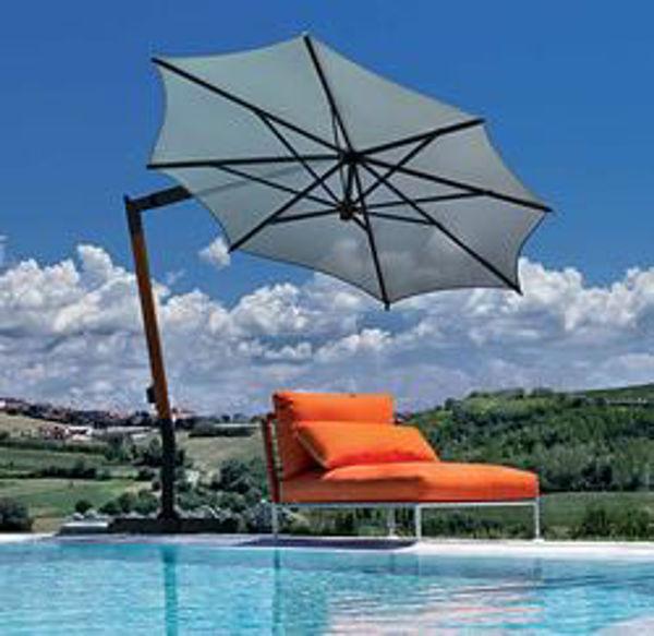 Picture of FIM Aluminum and Teak 11.5 ft. Offset / Market Style Umbrella - C02/340