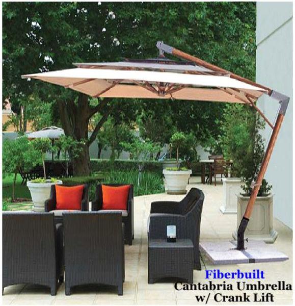 Picture of 10' Square Cantabria Umbrella w/ Indonesian Wood Ribs - Fiberbuilt