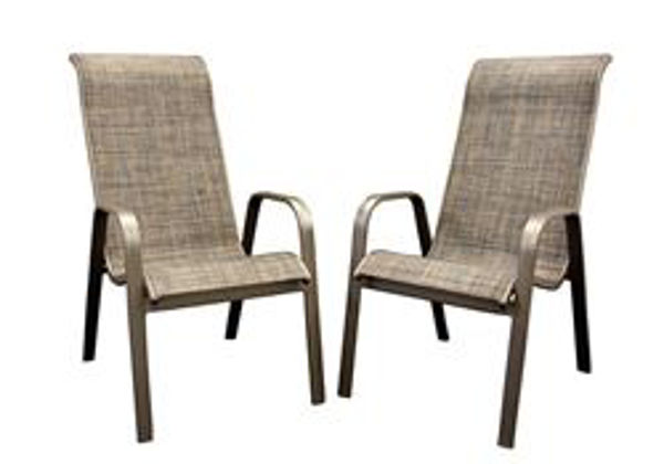 Picture of Aluminum Sling High Back Chair - with Cocoa Fabric (Sold in a Set of 2 chairs/carton)