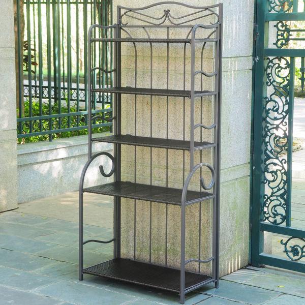 Picture of Valencia Resin Wicker/Steel 5-Tier Folding Shelf - Chocolate