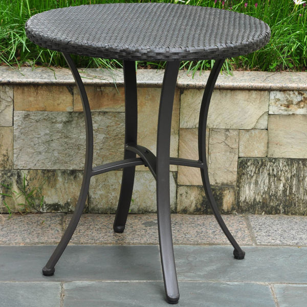 """Picture of Barcelona Resin Wicker/Aluminum 28"""" Round Table - Black"""