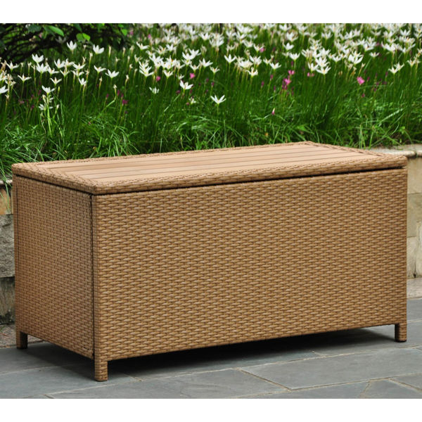 Picture of Barcelona Resin Wicker/ Aluminum Storage Trunk - Honey