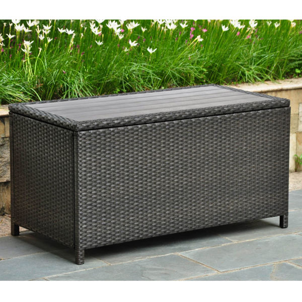 Picture of Barcelona Resin Wicker/ Aluminum Storage Trunk - Black Antique