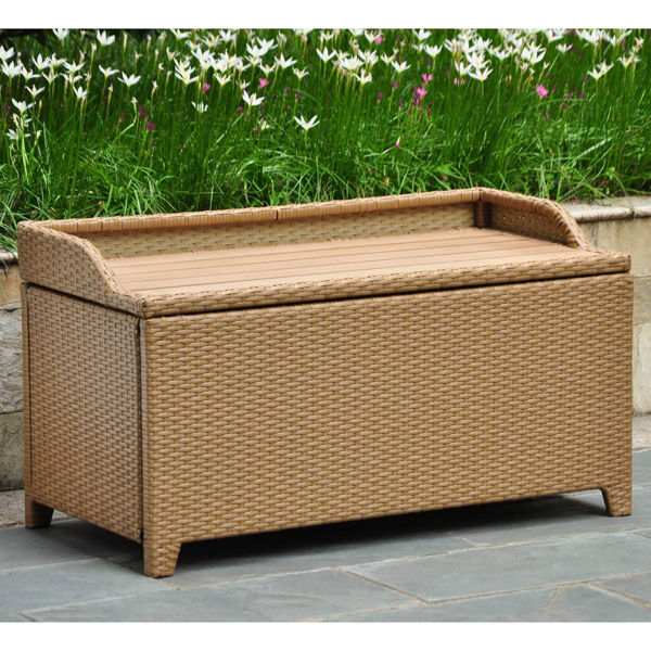 Picture of Barcelona Resin Wicker/ Aluminum Storage Bench with Edge Lip - Honey