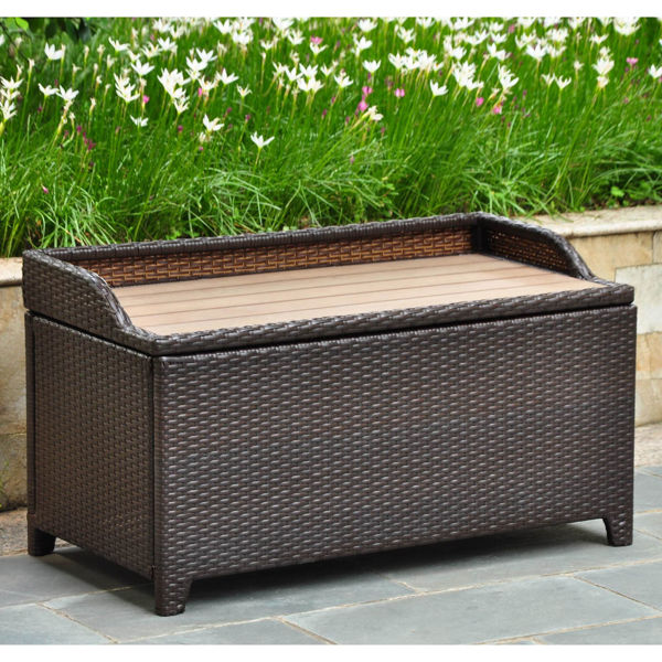 Picture of Barcelona Resin Wicker/ Aluminum Storage Bench with Edge Lip - Chocolate