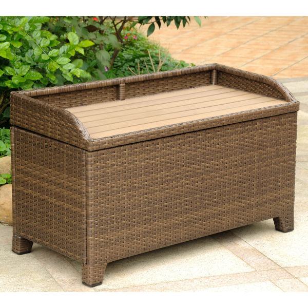 Picture of Barcelona Resin Wicker/ Aluminum Storage Bench with Edge Lip - Antique Brown