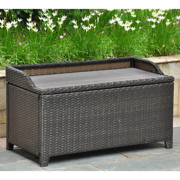Picture of Barcelona Resin Wicker/ Aluminum Storage Bench with Edge Lip - Black Antique
