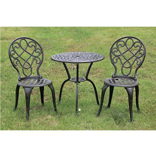 Picture of Paragon Casual Belgrade Bistro Cast Table Top with Base and 2 Chairs - Pack of 1