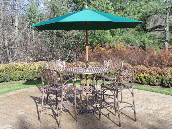 Patio Store Elite Mississippi Cast Aluminum 7 Pc Bar Set Includes A 42 Inch Table 4 Bar Stools With Foot Rests 9 Ft Crank Featured Umbrella And Metal Stand Antique Bronze