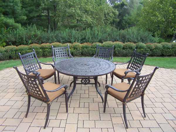 Patio Store Belmont Aluminum 7 Pc Patio Dining Set Includes 54 Inch Round Table 6 Stackable Chairs With Fade And Mildew Resistant Sunbrella Fabric Cushions Aged