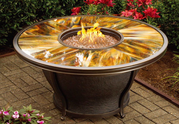 Picture of 48 x 24-inch Moonlight Round Gas Firepit Table with Tempered Fiberglass Top, Burner system, Weather fabric Cover, and Aluminum Frame.  - Antique Bronze