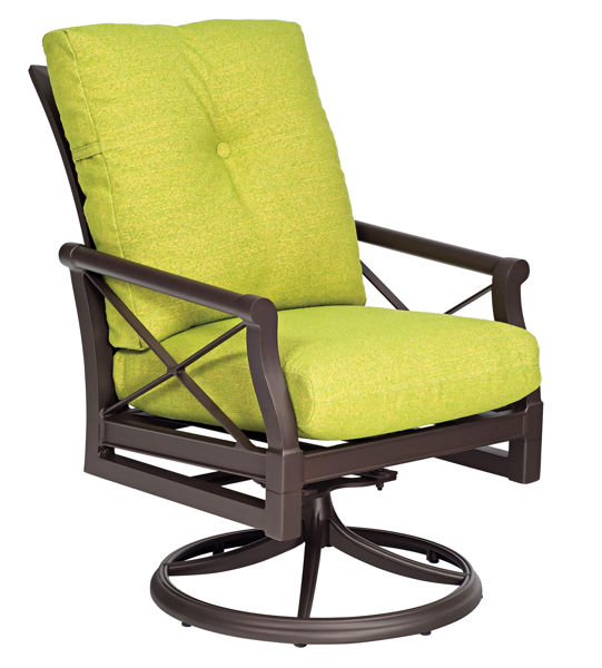 Picture of Woodard Andover Cushion Swivel Rocker Dining Arm Chair