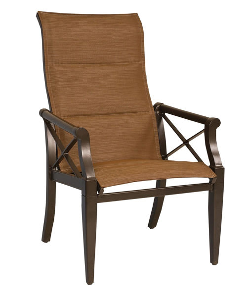 Picture of Woodard Andover Padded Sling High Back Dining Arm Chair