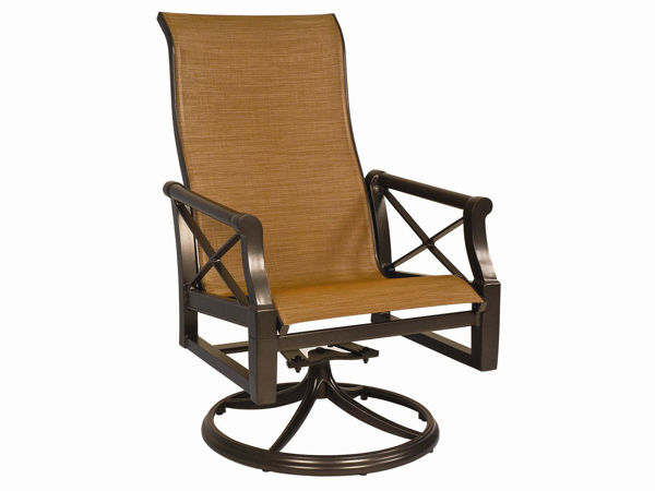 Picture of Woodard Andover Padded Sling High Back Swivel Rocker Dining Arm Chair