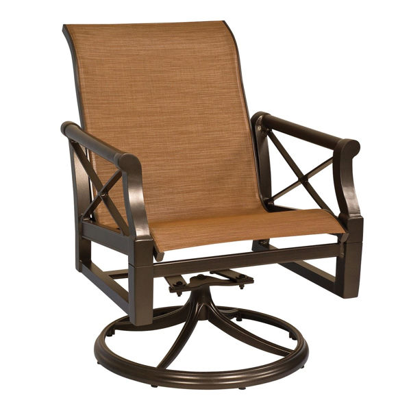 Picture of Woodard Andover Sling Swivel Rocker Dining Arm Chair