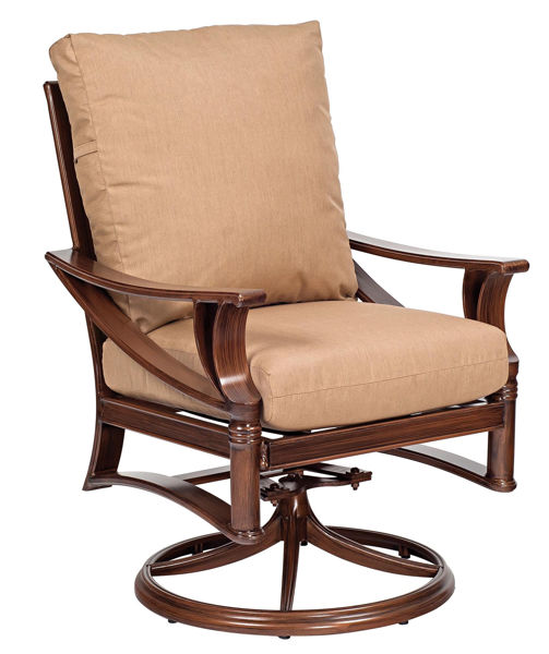 Picture of Woodard Arkadia Cushion Swivel Rocker Dining Arm Chair