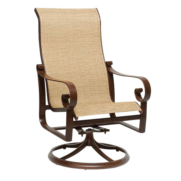 Picture of Woodard Belden Sling High Back Swivel Rocker Dining Arm Chair
