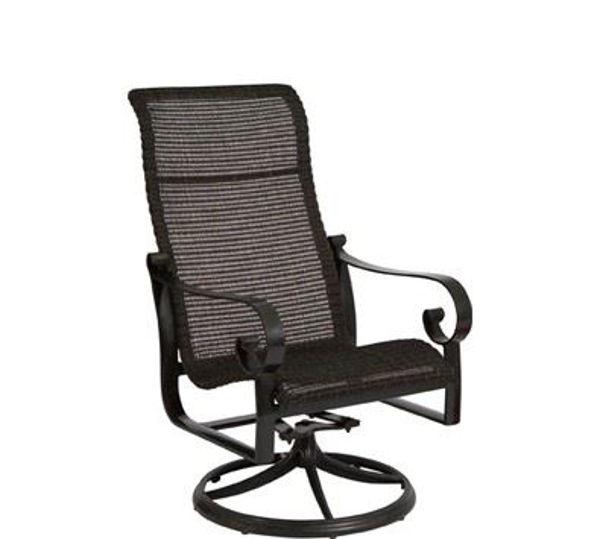 Picture of Woodard Belden Woven High Back Swivel Rocker Dining Arm Chair