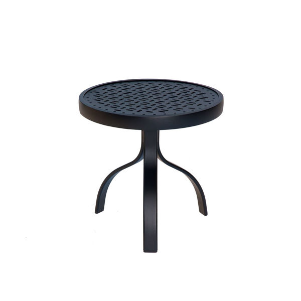"""Picture of Woodard Deluxe Tables in Aluminum with Lattice Top 18"""" Round End Table"""