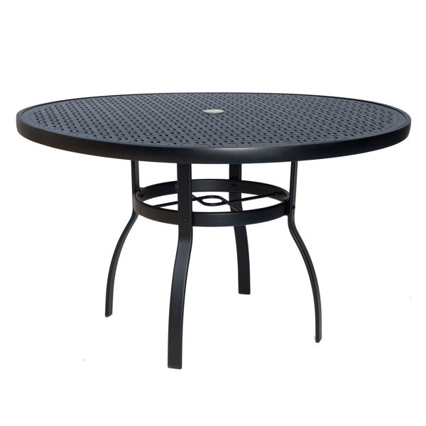 """Picture of Woodard Deluxe Tables in Aluminum with Lattice Top 48"""" Round Umbrella Table"""