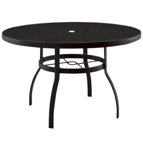 """Picture of Woodard Deluxe Tables in Aluminum with Lattice Top 54"""" Round Umbrella Table"""