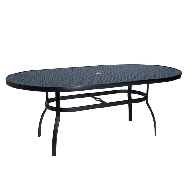 Picture of Woodard Deluxe Tables in Aluminum with Lattice Top 42' x 74' Oval Umbrella Table