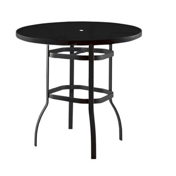 "Picture of Woodard Deluxe Tables in Aluminum with Lattice Top 36"" Round Bar Height Umbrella Table"