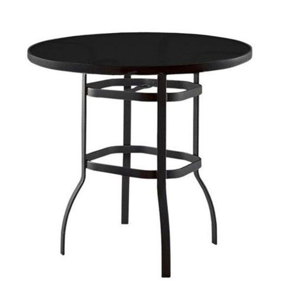 """Picture of Woodard Deluxe Tables in Aluminum with Lattice Top 42"""" Square Bar Height Umbrella Table"""