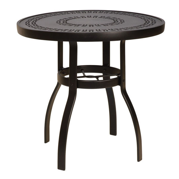 "Picture of Woodard Deluxe Tables in Aluminum with Trellis Top 30"" Round Dining Table"