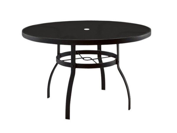 """Picture of Woodard Deluxe Tables in Aluminum with Trellis Top 54"""" Round Umbrella Table"""