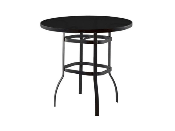 "Picture of Woodard Deluxe Tables in Aluminum with Trellis Top 42"" Square Bar Height Umbrella Table"