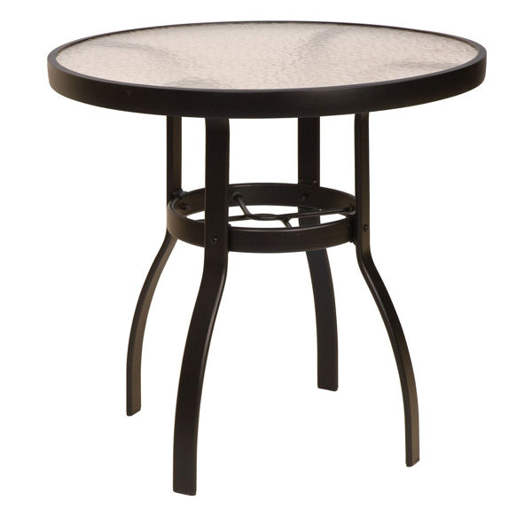 """Picture of Woodard Deluxe Tables in Aluminum with Acrylic Top 30"""" Round Dining Table"""