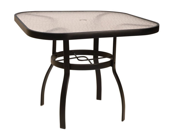 """Picture of Woodard Deluxe Tables in Aluminum with Acrylic Top 36"""" Square Umbrella Table"""