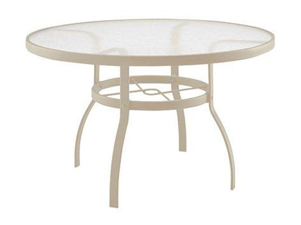 """Picture of Woodard Deluxe Tables in Aluminum with Acrylic Top 48"""" Round Dining Table"""