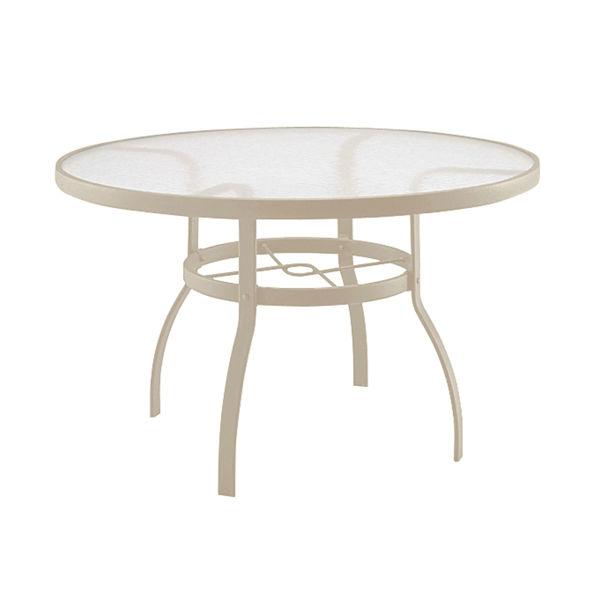 """Picture of Woodard Deluxe Tables in Aluminum with Acrylic Top 48"""" Round Umbrella Table"""