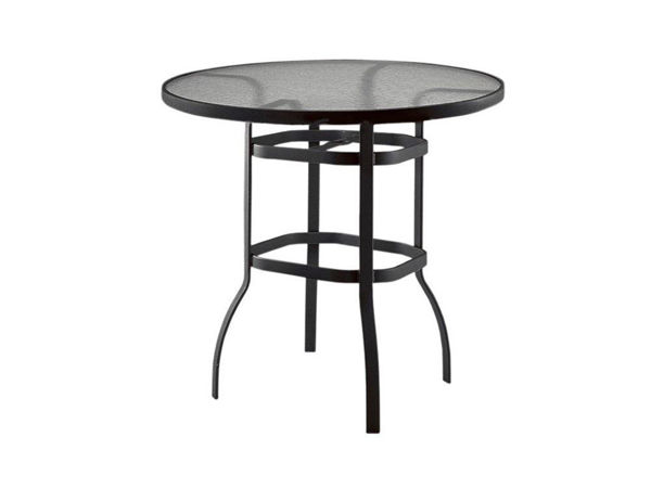 """Picture of Woodard Deluxe Tables in Aluminum with Acrylic Top 36"""" Round Bar Height Umbrella Table"""