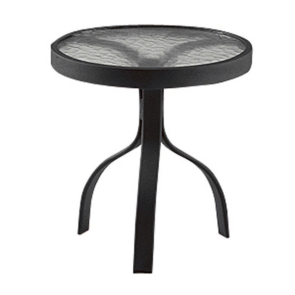 """Picture of Woodard Deluxe Tables in Aluminum with Obscure Glass 18"""" Round End Table"""