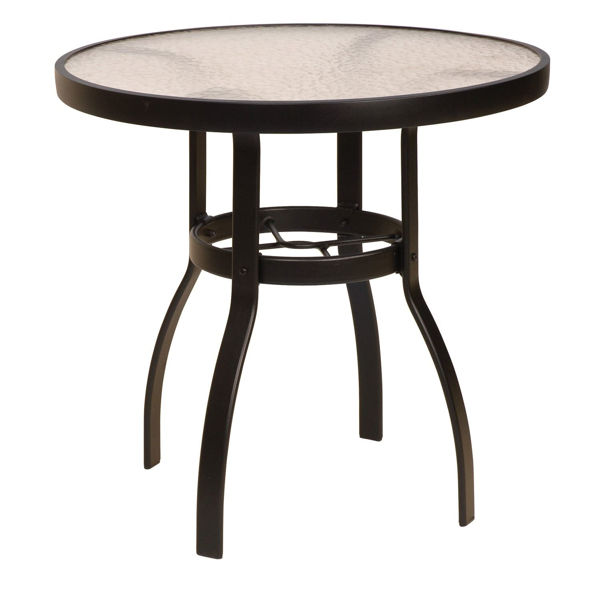 """Picture of Woodard Deluxe Tables in Aluminum with Obscure Glass 30"""" Round Dining Table"""