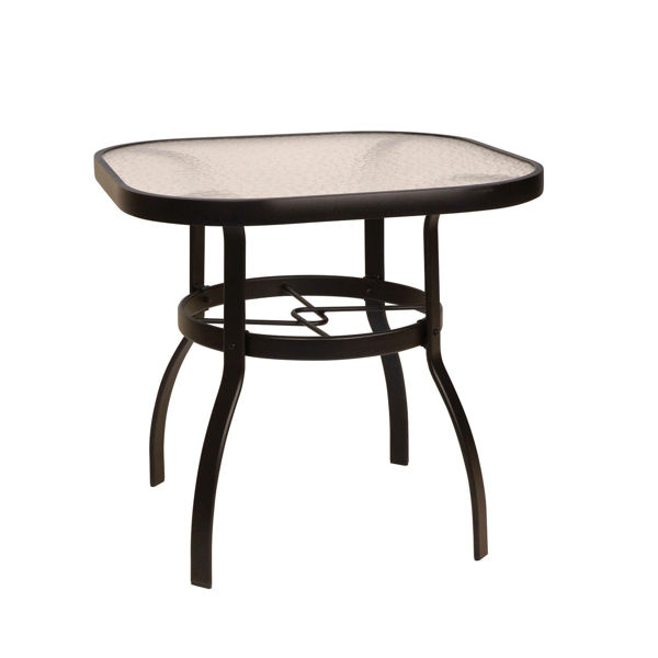"""Picture of Woodard Deluxe Tables in Aluminum with Obscure Glass 30"""" Square Dining Table"""