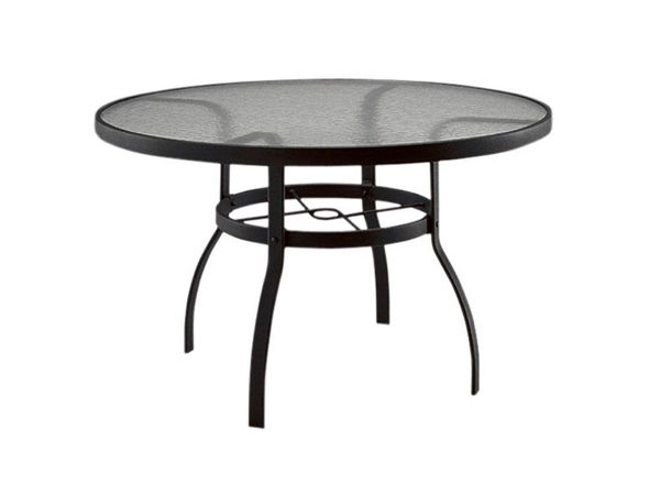 """Picture of Woodard Deluxe Tables in Aluminum with Obscure Glass 36"""" Round Umbrella Table"""