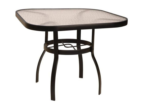 """Picture of Woodard Deluxe Tables in Aluminum with Obscure Glass 42"""" Square Dining Table"""