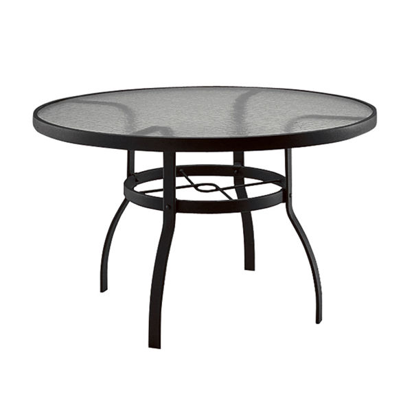 """Picture of Woodard Deluxe Tables in Aluminum with Obscure Glass 48"""" Round Dining Table"""