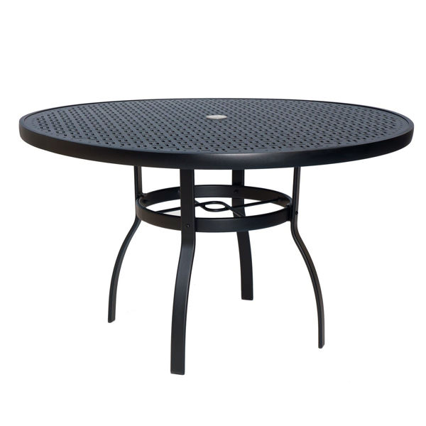"""Picture of Woodard Deluxe Tables in Aluminum with Obscure Glass 48"""" Round Umbrella Table"""