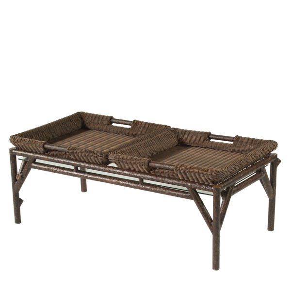 Picture of Woodard Chatham Run Coffee Table with Glass and Trays