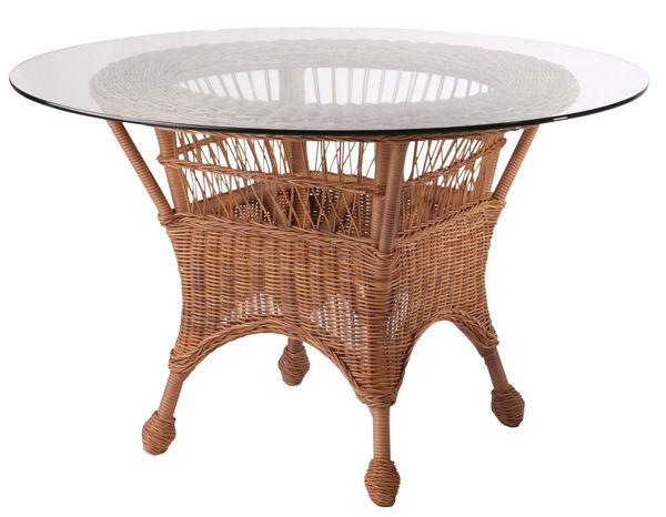 Picture of Woodard Cottage Round Dining Table with Glass Top