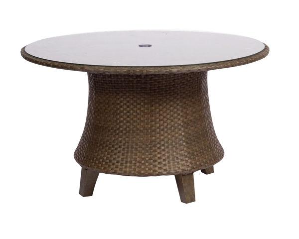 Picture of Woodard Del Cristo Round Umbrella Table with Glass Top