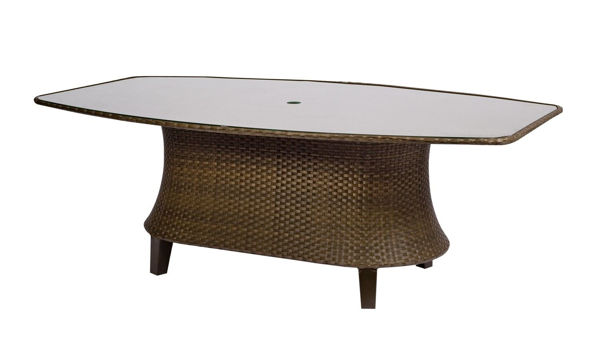 Picture of Woodard Del Cristo Oval Umbrella Table with Glass Top