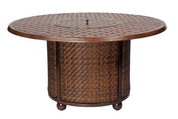 Picture of Woodard North Shore Firepit with Woven Base and Round Thatch Top