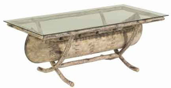 Picture of Woodard River Run Canoe Coffee Table with Glass Top