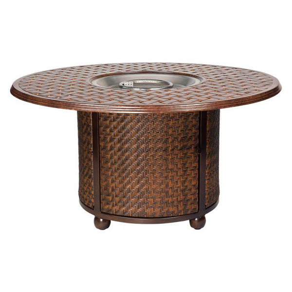 """Picture of Woodard Saddleback Fire Pit with 48"""" Round Thatch Top"""